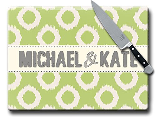MuralMax Glass Cutting Board - Personalized Cutting Board Gifts for Anniversary, Wedding, Housewarming or Any Occasion - Polka Dot Design, 15 x 11 Inches, Green (11x15 Butcher Tray compare prices)