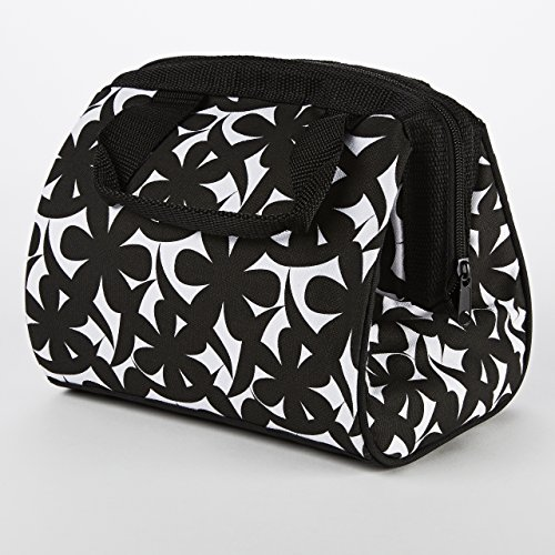 Fit & Fresh Charlotte Insulated Lunch Bag for Women / Girls with Ice Pack, Ideal for Work / School, Zips Closed, Black & White (Lunch Box Ice Bag)