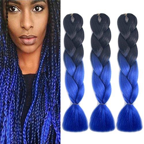 Urqueen Hair Ombre Jumbo Braid Hair 3pcs/lot Synthetic Hair Extensions Two Tone Braiding Hair 100g/pcs Kanekalon Fiber For Twist Braiding Hair(Dark-Royal - Twist Tone Two