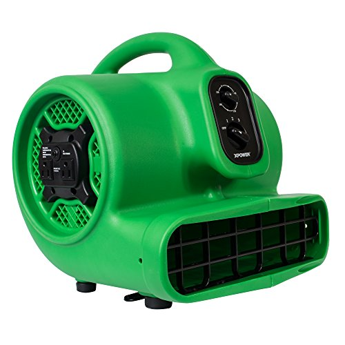 XPOWER P-430AT Medium Sized Air Mover, Carpet Dryer, Floor Blower, and Utility Fan- Features a Timer & Built-in Power Outlets - Green (1)