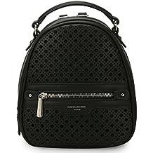 DAVIDJONES Women's Faux Leather Mini Perforated Backpack Shoulder Bag Travel Purse