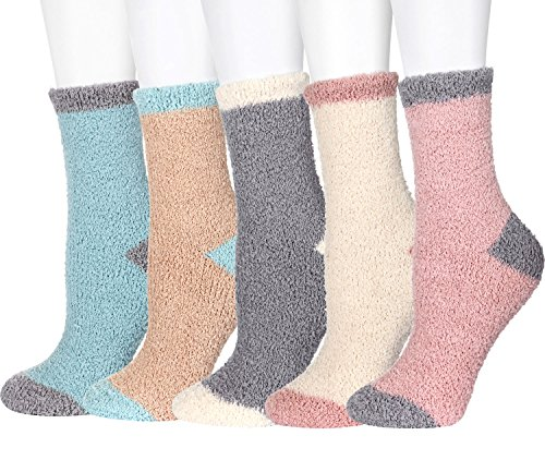 5 or 4 or 3Pairs Fuzzy Socks Women Girls Microfiber Slipper Sleeping Winter Warm Thermal Home Crew Socks Holiday Gifts FAYBOX
