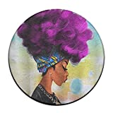 Yiot African Women With Purple Hair Design Ultra Soft Indoor Modern Area Rugs Fluffy Living Room Carpets Suitable For Children Bedroom Home Decor Nursery Rugs Diameter Size: (23.6/0.4) Inch