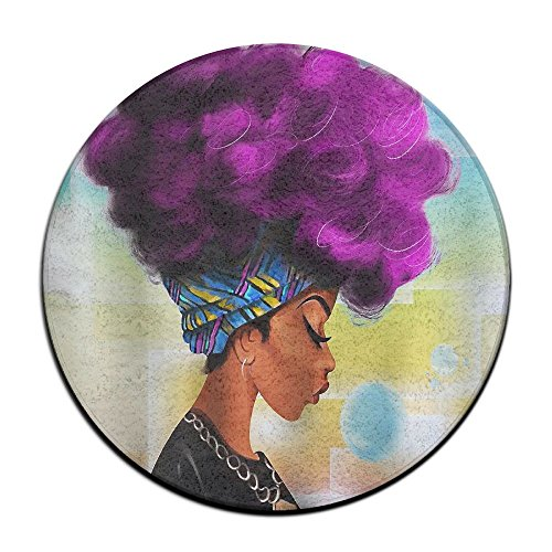 Yiot African Women With Purple Hair Design Ultra Soft Indoor Modern Area Rugs Fluffy Living Room Carpets Suitable For Children Bedroom Home Decor Nursery Rugs Diameter Size: (23.6/0.4) Inch by Yiot