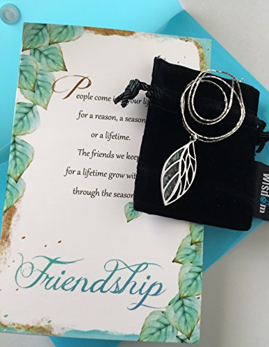 Smiling Wisdom - Abalone Paua Shell Platinum Plated Leaf Friendship Necklace Gift Set - Reason Season Lifetime Friendship Greeting Card For Her, Awesome Best Friend - Blue Green Natural Shell