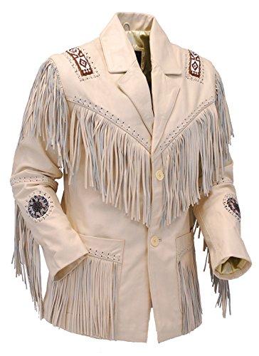 Jamin' Leather White Leather Jacket w/Fringe (2XL) #M2537BBFW