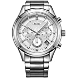 BUREI Mens Business Casual Elegant Chronograph Sports Watch with Genuine Leather Strap (Silver-Stainless Steel)