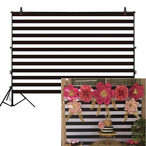 (Allenjoy 8x6ft Fabric Black and White Stripes Backdrop for Birthday Wedding Party Dessert Table Decor Studio Photography Pictures DIY Photo Booth Striped Banner Background Baby Bridal Shower)