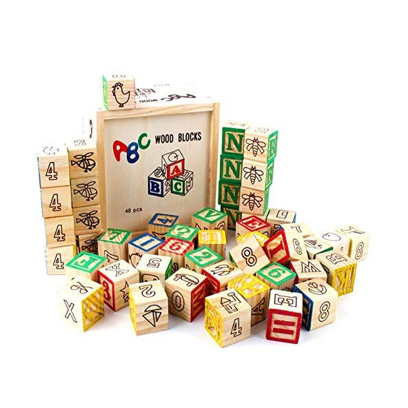 Baybee Wooden ABC Blocks 48 PCS – Stacking Stacking Blocks Baby Alphabet Letters, Counting , Colors Wooden Blocks for Toddlers / Preschool Learning Toys for Kids