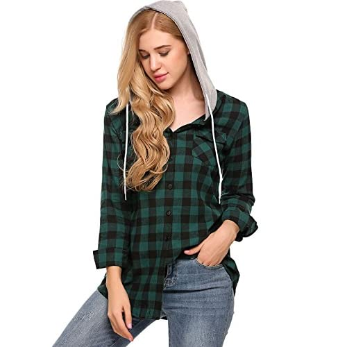 881a00589 durable modeling Soteer Womens Plaid Shirts Classic Long Sleeves Cotton  Hoodie Button-up Flannel Shirts