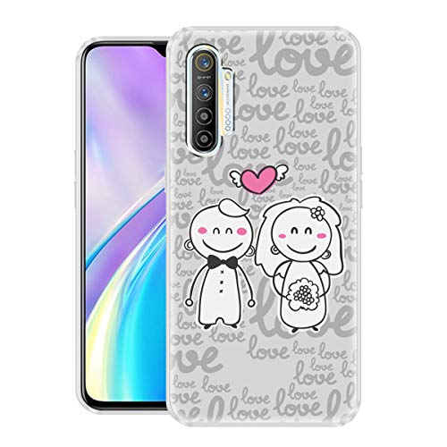 Nainz Married Cute Couple Ultra Slim 360 Soft Silicone Back Case Cover for Realme XT