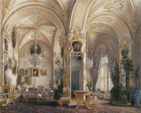 のポリエステルキャンバス地の油絵Hauエドワード・Petrovich、InteriorsのRococo IIスタイルの冬宮殿、図面の部屋で、with Cupids  1807–1887」、サイズ: 24X 30インチ/ 61x 76cm、このが安いアート装飾アート装飾プリントキャンバスは、フィットの壁アートアートワークとホームアートワークとギフトの商品画像