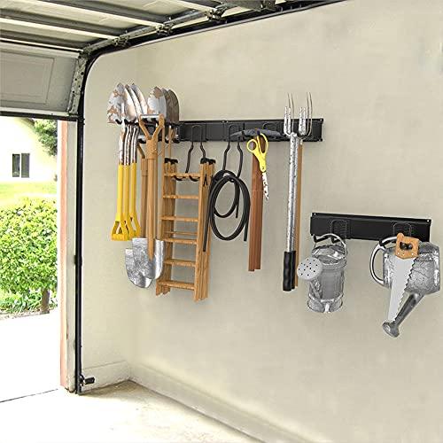 Heavy Duty Tool Storage Rack Garage Organizer Wall Mount Garden and Garage Organization System Steel Hanger Max Load 800 lbs, 48 inch, 8 Hooks