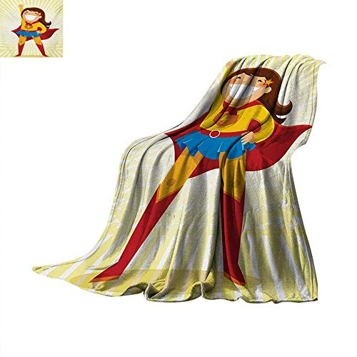 Superhero Digital Printing Blanket Courageous Little Girl with a Big Smile in Costume Standing in a Heroic Position Digital Printing Blanket 80