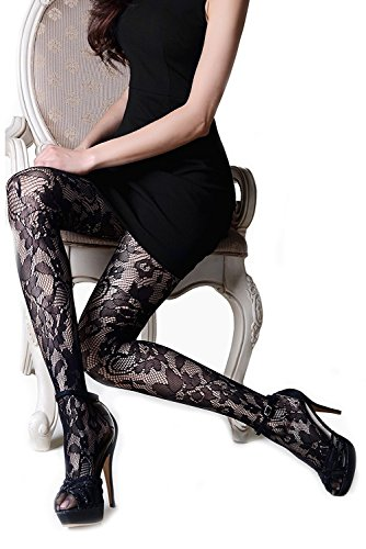 Yelete Killer Legs Women's One / Plus Size Thigh High Fishnet Tights Stocking Pantyhose (One Size, Floral Lace)