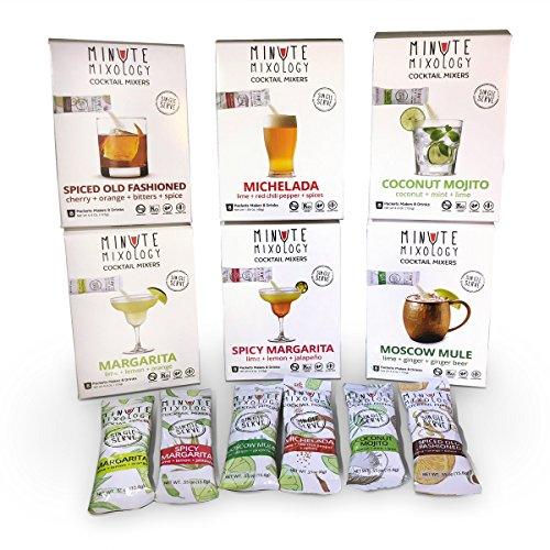Minute Mixology Cocktail Mixers - Low Calorie, All Natural Mix for Margarita, Spicy Margarita, Mojito, Moscow Mule, Old Fashioned, Michelada (Assorted Pack: All 6 Flavors, 48 Packets) -