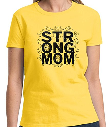 66-Strong Mom Mother's Gift Women's Tshirt Short Sleeve Allure & Grace (Small, Daisy Yellow) (Yale University Halloween Reddit)
