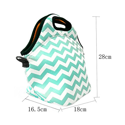 Amerzam Neoprene Lunch Bags/Lunch Boxes, Waterproof Outdoor Travel Picnic Lunch Box Bag Tote with Zipper and Adjustable Crossbody Strap (Light Blue Lunch bag+Water Bottle Tote) by Amerzam (Image #1)