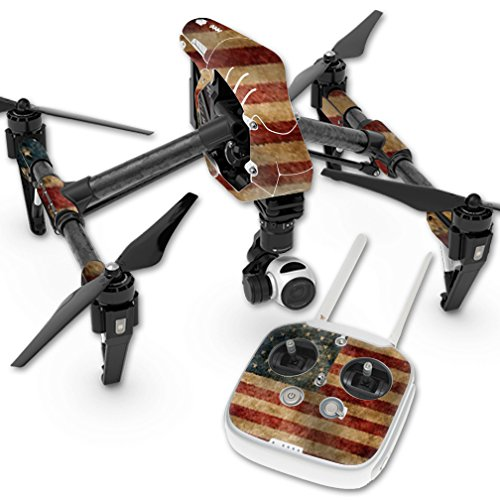 MightySkins Protective Vinyl Skin Decal for DJI Inspire 1 Quadcopter Drone wrap Cover Sticker Skins Vintage Flag