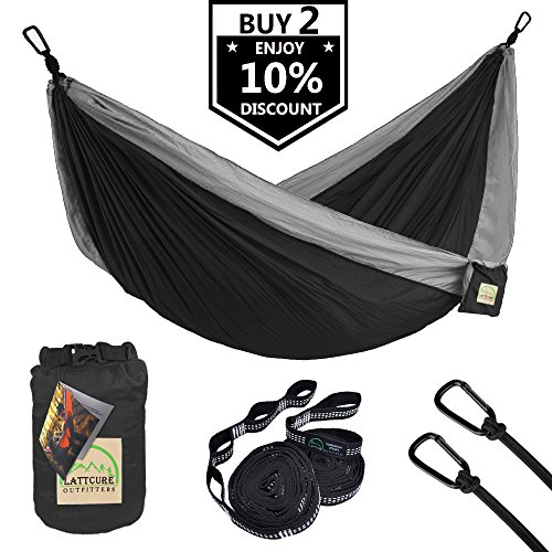 Umbo Set (Double Camping Hammock, LATTCURE Lightweight Portable Hammock Parachute Nylon Fabric & 600LB High Capacity with 2 Adjustable Hanging Straps for Camping Backpacking Travel Beach Yard(Black+Sliver))