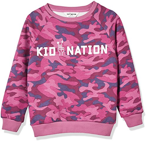 Kid Nation Kids' Allover Printed Graphic Camo Pullover Sweatshirt for Boys Or Girls L Purple … by Kid Nation (Image #1)