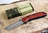 Buckshot Knives PBK220 Thumb Open Spring Assisted Tanto Cleaver Classic Wood Handle Pocket Knives (PBK220WD)