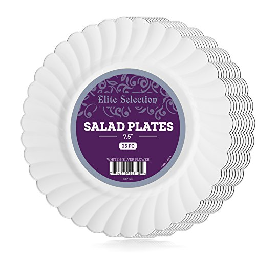Elite Selection Pack Of 25 White Salad / Dessert Disposable Party Plastic Plates With Silver Flower Rim 7.5-Inch (Price Is Right 2017 Halloween)