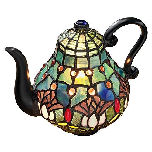 Design Toscano Victorian Teapot Tiffany-Style Stained Glass Illuminated Sculpture, 9.5