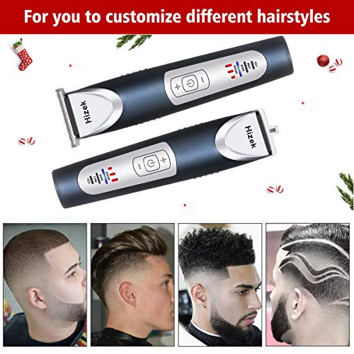 Beard and Hair Trimmer, Hizek Hair Clippers Professional Haircut Kit,Cordless Men's Trimmer with 3 Adjustable Speeds, LED Display, Precision Blade,Travel Bag and 4 Guide Combs For Family Use