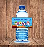 20 Personalized Baby shark birthday party water bottle labels
