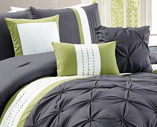 Modern 7 Piece Bedding Grey Sage Green White Stripe