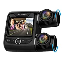TOGUARD Uber Dual Dash Cam FHD 1080P+1080P Front and Rear View Car Camera 2 LCD 340° Outside and Inside Dual Dashboard Camera with Sony Sensor, Loop Recording, Parking Mode for Lyft Car Taxi