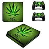 Cosines PS4 Slim Stickers Vinyl Decal Protective Console Skins Cover for Sony Playstation 4 Slim and 2 Controllers Green Leaf Weed