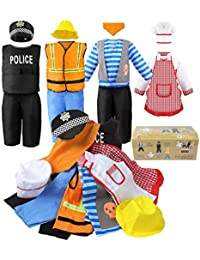 Boy's Dress Up Costumes Set, Role Play Set 11-pcs Dress Up Trunk Pirate, Chef, Construction Worker, Policeman Costume Fit Kids Age from 3-6