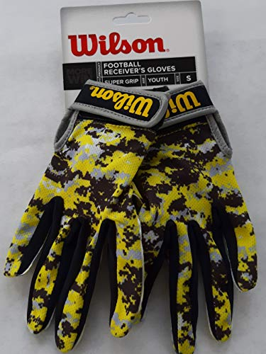 Wilson Super Grip Football Receiver's Gloves in Youth Sizes - Red Camo or Yellow Camo (Yellow Camo, Small)