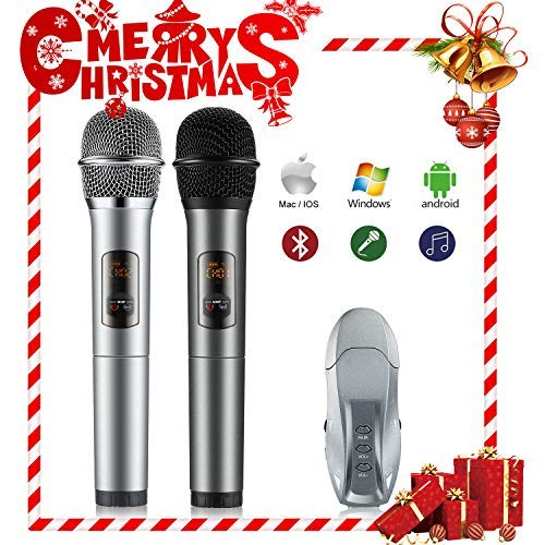 Wireless Microphone,U-Kiss Handheld Microphone Dynamic Microphone System with Receiver Box Various Frequency 10/25 Channels - for Karaoke Night,Home Entertainment,Conference, Stage Shows