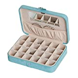 Mele & Co. Maria Plush Earring and Ring Holder Jewelry Box, 24 Sections (Aqua)
