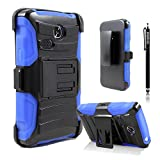 LG Sunrise Case, LG Lucky Case, LG L15G, LG L16C Combo Rugged Shell Cover Holster with Built-in Kickstand and Holster Locking Belt Clip Blue + Circle(TM) Stylus Touch Screen Pen And Screen Protector