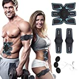 Muscle Trainer EMS Portable Rechargeable Gym Workout Training and Home Office Fitness Equipment for Abdomen/Arm/Leg, Abdominal Toning Belt Fat Burner ABS Stimulator Muscle Toner for Men Women