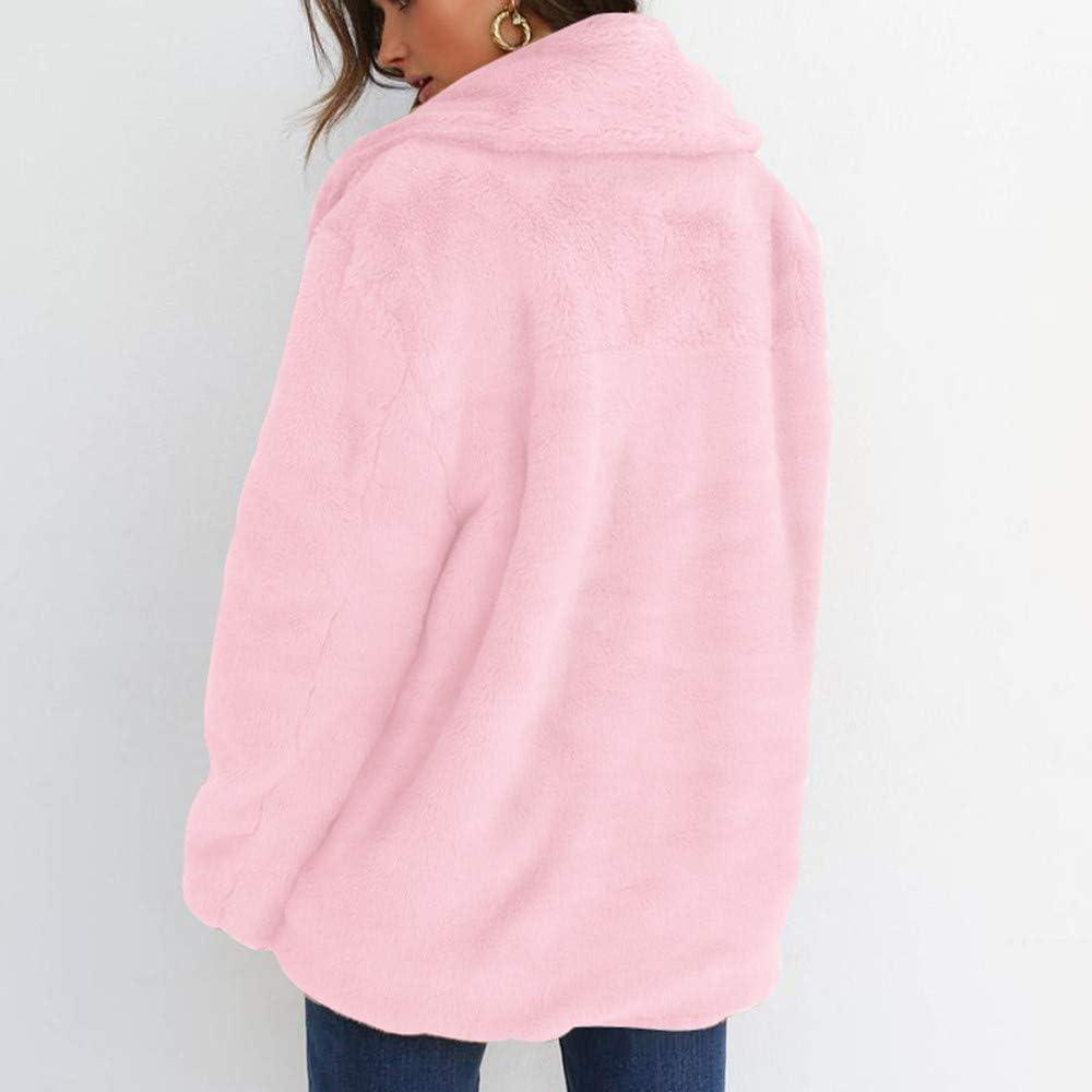 Women Fur Coat,Vanvler Ladies Keep Warm Winter Outerwear Lapel Big Collar Loose Jacket