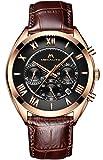 Mens Chronograph Watches Men Waterproof Sport Date Luxury Analogue Quartz Brown Leather Strap Wrist Watch