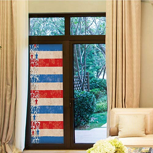 (YOLIYANA Non-Toxic Window Film,4th of July Decor,for Indoor & Outdoor Window,American Soldier Saluting in Military Style Inside Heart,24''x70'')
