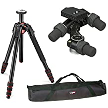 Manfrotto 190 Go! Aluminum 4 Section Tripod Kit with 405 Pro Digital Geared Head a VidPro 35 inch Tripod Carrying Case