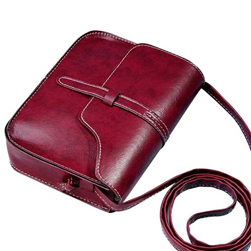 vermers Womens Vintage Purse Bag Leather Cross Body Shoulder Messenger Bag Fashion Mini Bag(Red)