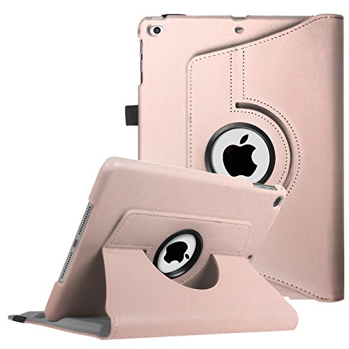 Fintie iPad 9.7 inch 2017 iPad Air Case - 360 Degree Rotating Stand Cover with Auto Sleep Wake for Apple iPad 9.7 inch 2017 Tablet iPad Air 2013 Model - Rose Gold