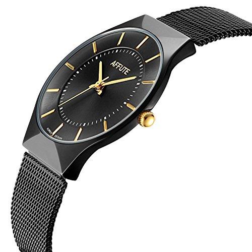 Slim Dress Watch (Tamlee Fashion Classic Slim Case Quartz Analog Mesh Stainless Steel Dress Watches for Men Black)