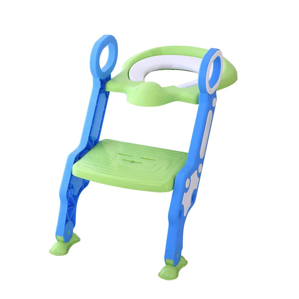 Wanzi2 Baby Child Potty Toilet Trainer Seat Step Stool Ladder Adjustable Footrest Potty Training Chair - Safe and Comfortable,Easy to Assemble (Green)