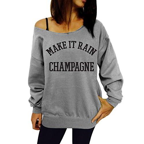 Dentz Design Make It Rain Champagne Slouchy Sweatshirt KzU0NpoO