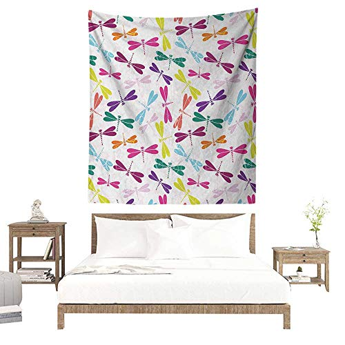 m Tapestry Dragonfly Kids Nursery Childhood Playroom Birthday Bunch of Winged Animals Floral Pattern 40W x 60L INCH Suitable for Living Room, Bedroom, Beach ()