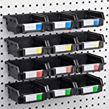 Pegboard Bins - 12 Pack - Hooks to 1/4'' or 1/8'' Hole Peg Board - Organize Hardware, Accessories, Attachments, Workbench, Garage Storage, Craft Room, Tool Shed, Hobby Supplies, Small Parts